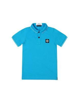 Мужская синяя футболка поло stone island