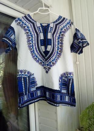Натуральная коттоновая блуза с карманами