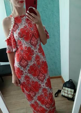 Натуральное платье в пол открытые плечи