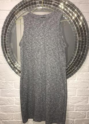 Меланжевое мини платье резинка