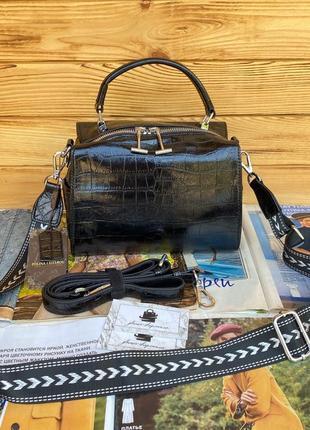 Женская кожаная сумка бочонок лаковая через и на плечо polina & eiterou чёрная серебро