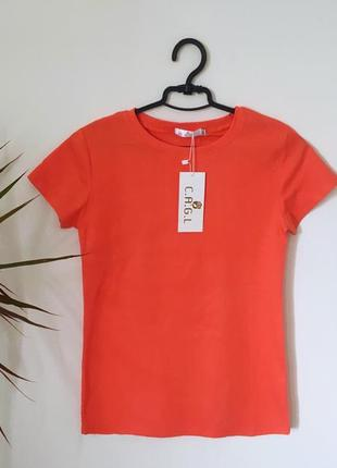 Коралловая хлопковая футболка