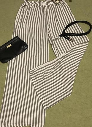 Широкие летние брюки в полоску. брюки палаццо