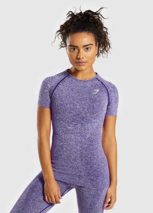 Лиловая оригинальная футболка gymshark , термо , сиреневая