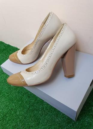 Туфли натуральнач кожа, бедевые нюдовые кремовые