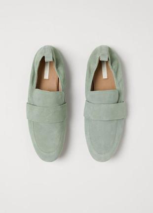Натуральные замшевые мятные лоферы,  туфли,  h&m, бирка