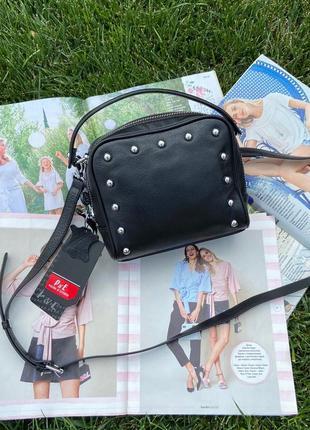 Женская кожаная сумка через плечо кросс-боли чёрная polina & eiterou