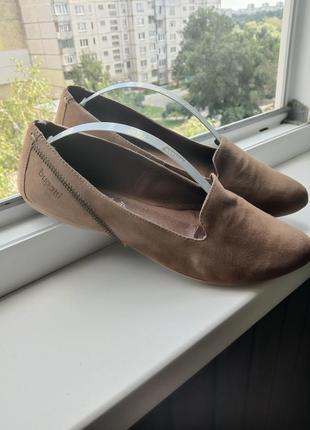 Замшевые туфли балетки bugatti