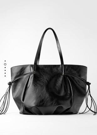 Шопер zara сумка шоппер черная большая сумка торба шопер