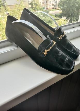 Итальянские туфли sauro замш+кожа крокодила