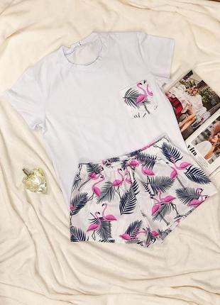 Жіноча піжама з принтом фламінго футболка і шорти