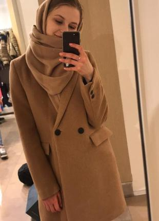 Бежевое пальто/ zara бежевое пальто / шикарное пальто