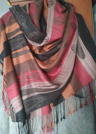 Двухсторонний палантин шарф пашмина ( кашемир ) + шелк