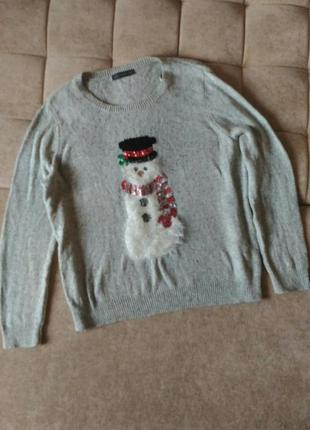 Новогодний свитшот свитер m&s с снеговиком, размер 18 xxl