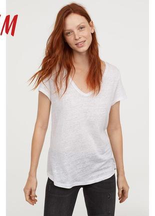 Натуральная белая 100% лен льняная футболка h&m l.o.g.g. оверсайз