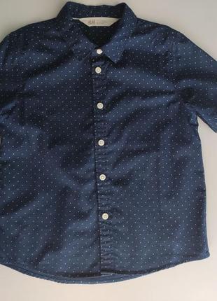 Стильная праздничная рубашка, святкова сорочка бренда h&m на мальчика 5-6 лет