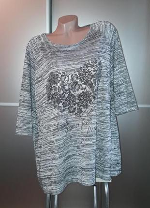 Батал! удлиненный свитер/реглан/туника с красивым принтом!