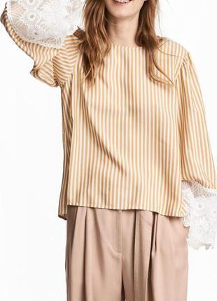 Блуза полоска с кружевом стильная h&m💖 oversize