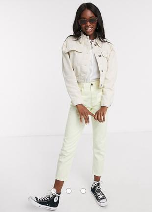 Джинсовая куртка оверсайз с объёмными рукавами и накладными карманами. pull&bear. new