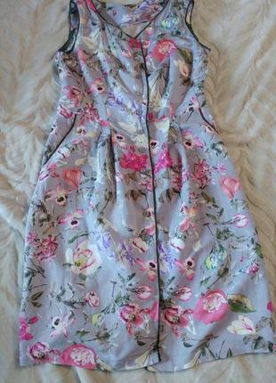 Нежнейшее платье халат с цветами лен