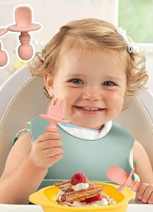 Пищевой детский силиконовый нагрудник, посуда, тарелка, соски  (набор)