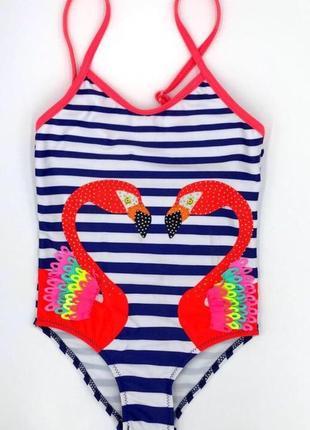 Распродажа сдельный купальник для девочки с фламинго от 2 до 5 лет