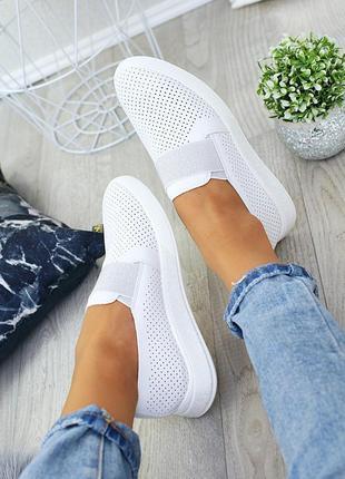 Летняя распродажа, легкие очень удобные белые кожаные мокасины слипоны с перфорацией