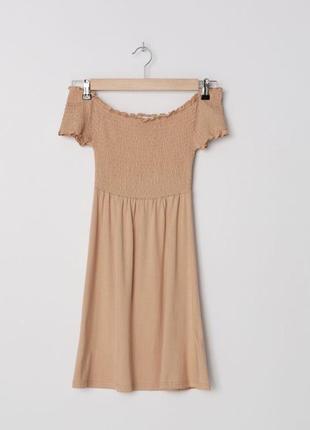 Платье базовое нюдовое со спущенными плечами zara