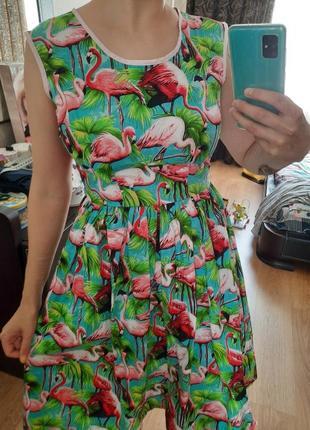 Винтажное миди платье в фламинго from vintage to vogue