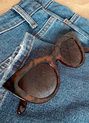 Солнцезащитные женские леопардовые очки кошачий глаз