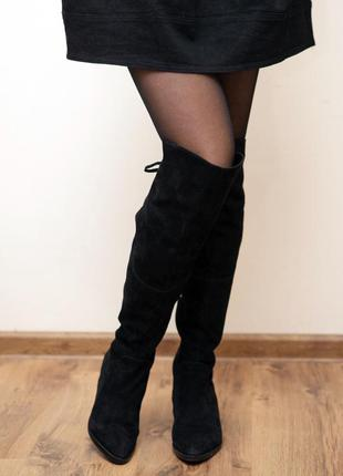 Черные сапоги-ботфорты из натуральной замши, 36 размер