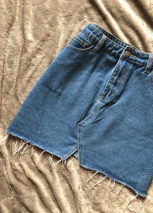 Крутая джинсовая юбка с необработанным краем🔥