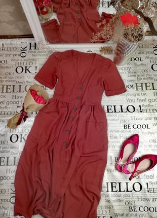 Очень милое миди платье на пуговках и карманами