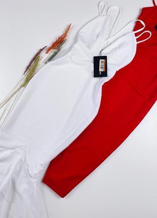 Белое платье миди с красивой спинкой