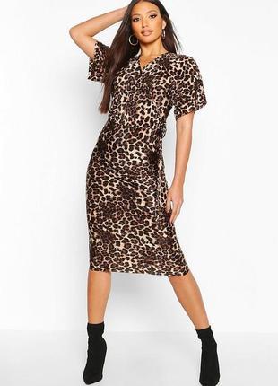 Платье миди плиссе в леопардовый принт