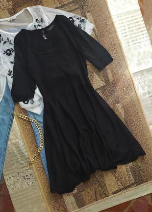 Платье черное демисезонное / сукня / разлетайка трапеция  клёш / рубчик
