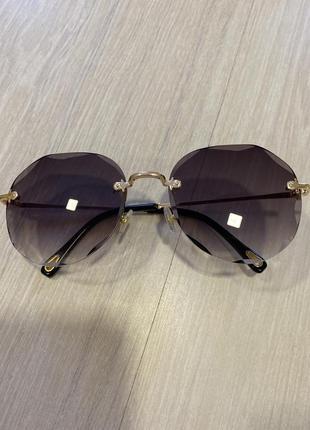Очки солнцезащитные, очки бежевые с прозрачным стеклом
