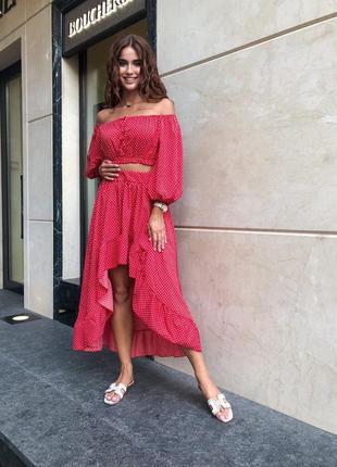 Костюм женский прогулочный с юбкой красный в горошек