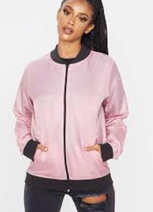 Prettylittlething. легкая куртка-бомбер rose. uk 12новая.