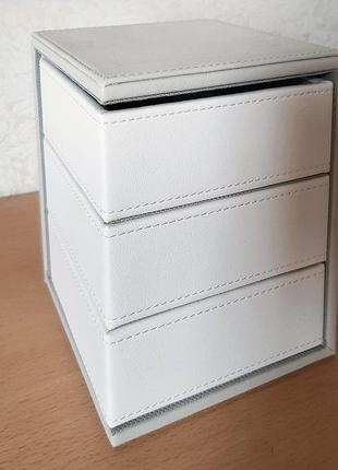 Шкатулка органайзер для бижутер украшен хранение подарок бел сер