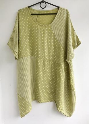 Льняная туника платье с принтом, цветная блуза балахон из льна, лляная рубашка италия