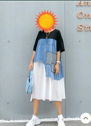 Классное джинсовое платье ,большой размер оверсайс