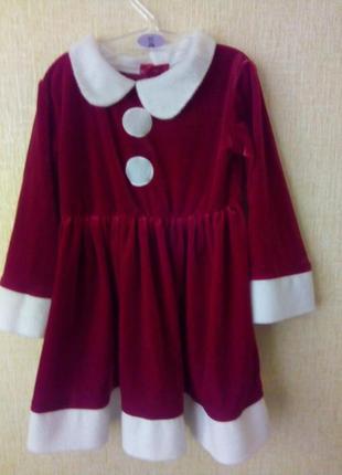 Новогоднее платье санта m&s 12-18 мес р.86