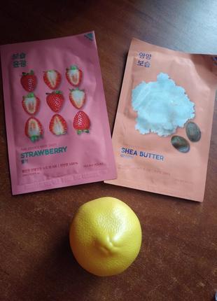 Набор из корейских масок и крема для рук лимон holika holika