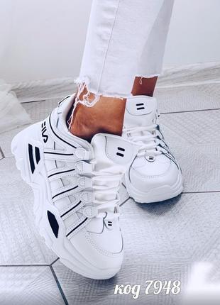 """Лёгкие белые кроссовки """"fila"""" на массивной подошве"""