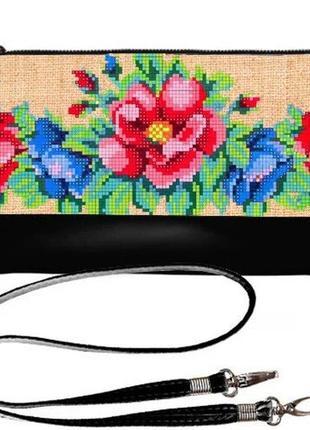 Сумка клатч принт цветочная вышивка украина