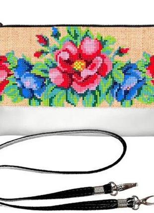 Сумка клатч женский белый с принтом цветочная вышивка украина