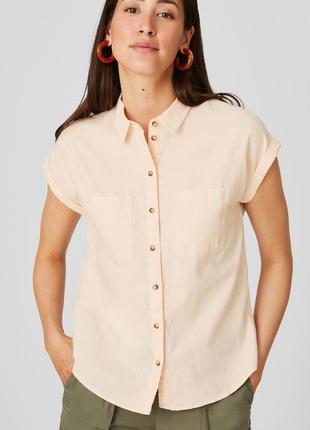 Блузка льняная бежевая