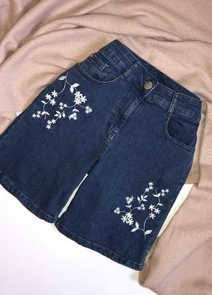 Винтажные синие джинсовые шорты с вышивкой, цветами на высокой посадке m&co, p.s/m