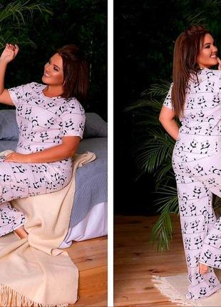 Шикарные натуральные женские пижамки, размеры от 50 до 58